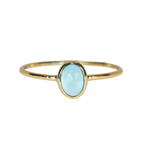 Pura Vida | 美國手工 玉髓石橢圓造型金色戒指