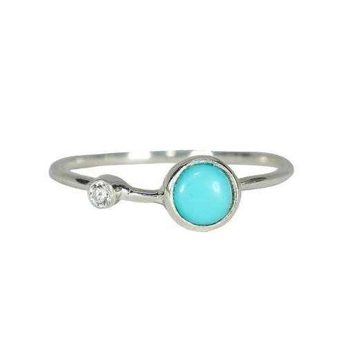 Pura Vida | 美國手工 綠松石鑲鋯純銀戒指