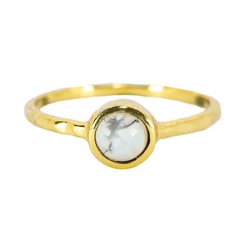 Pura Vida | 美國手工 波西米亞風礦石 純銀鍍金戒指