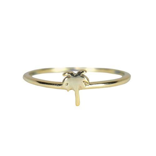 Pura Vida | 美國手工 魅力棕櫚造型金色戒指