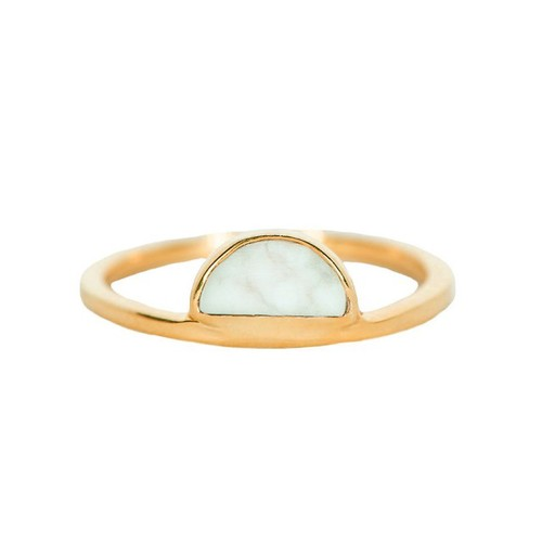Pura Vida | 美國手工 半月白紋石金色戒指