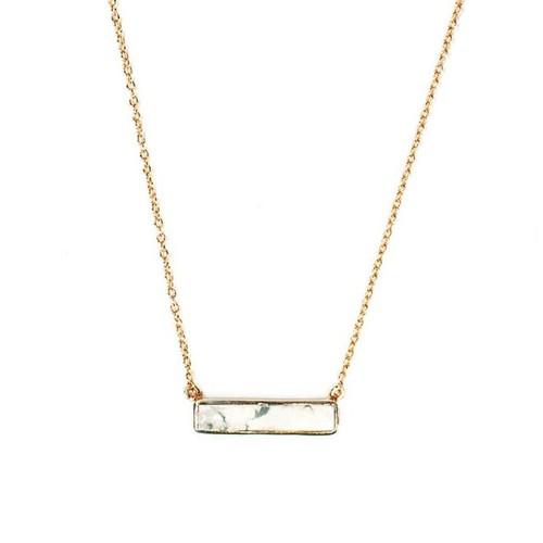 Pura Vida   美國手工 白紋石長形墜飾金色項鍊