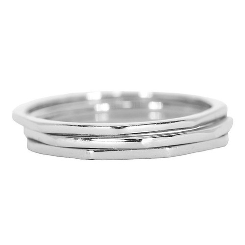 Pura Vida | 美國手工 八角幾何造型銀色戒指 3件組