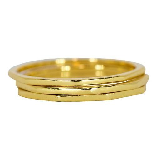 Pura Vida | 美國手工 八角幾何造型金色戒指 3件組