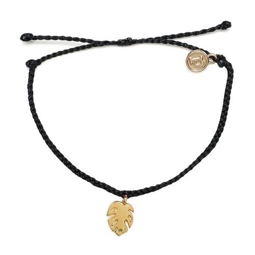 Pura Vida | 美國手工 金色棕櫚葉 黑色臘線可調式防水手鍊 衝浪手繩