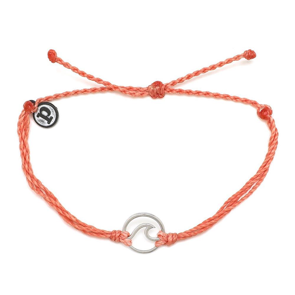 Pura Vida | 美國手工 WAVE 銀色波浪墜飾 珊瑚橘臘線可調式手鍊衝浪海灘防水手繩