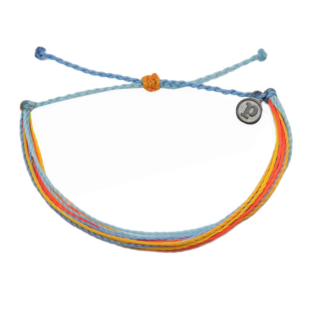 Pura Vida|美國手工 水藍橘色系臘線可調式手鍊衝浪海灘防水手繩