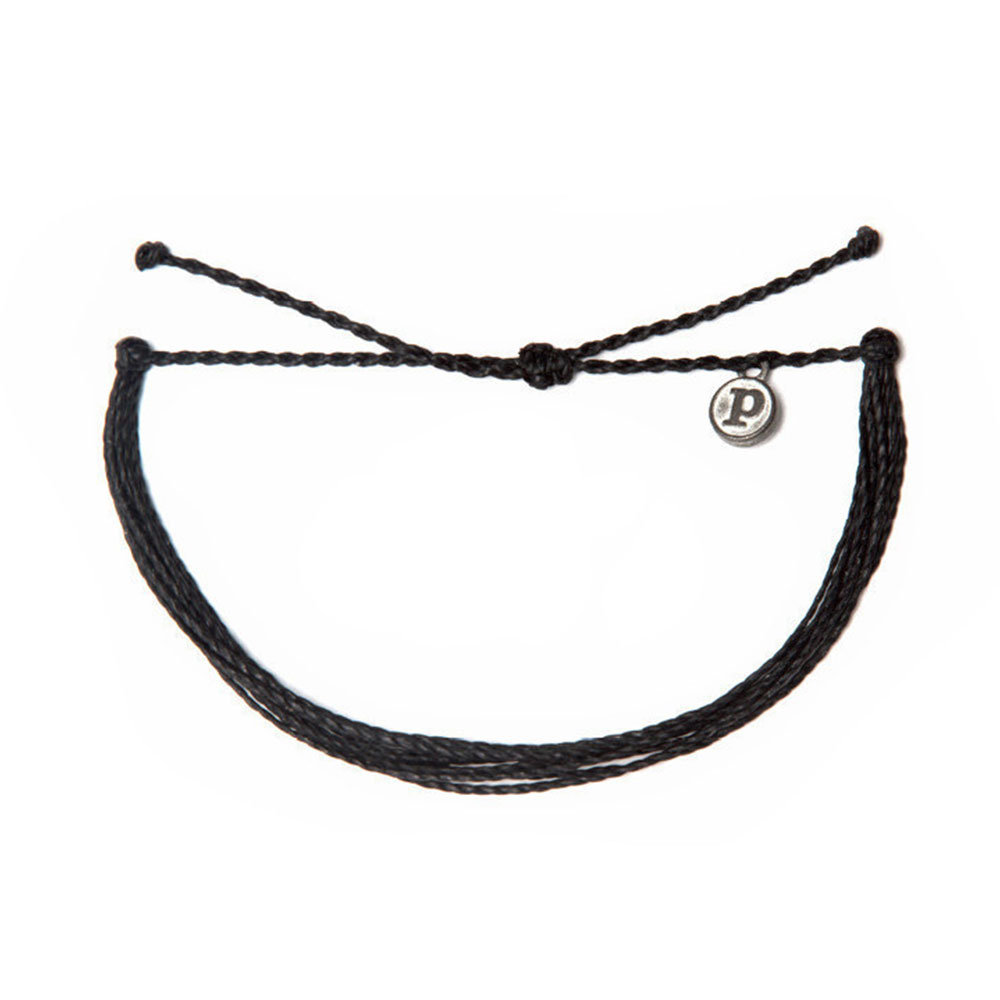 Pura Vida|美國手工 SOLID BLACK 黑色臘線衝浪手環