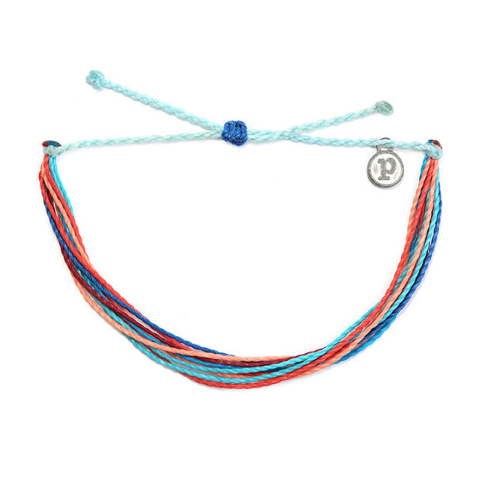 Pura Vida|美國衝浪品牌 RIPTIDE 粉橘水藍色手鍊