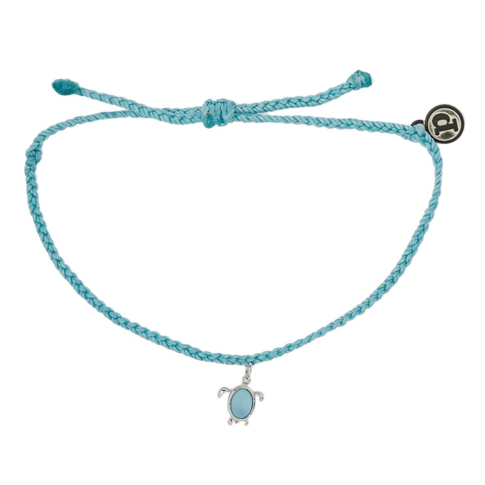 Pura Vida|美國手工 慈善系列 保護海龜銀色 水藍色蠟線衝浪手鍊手環