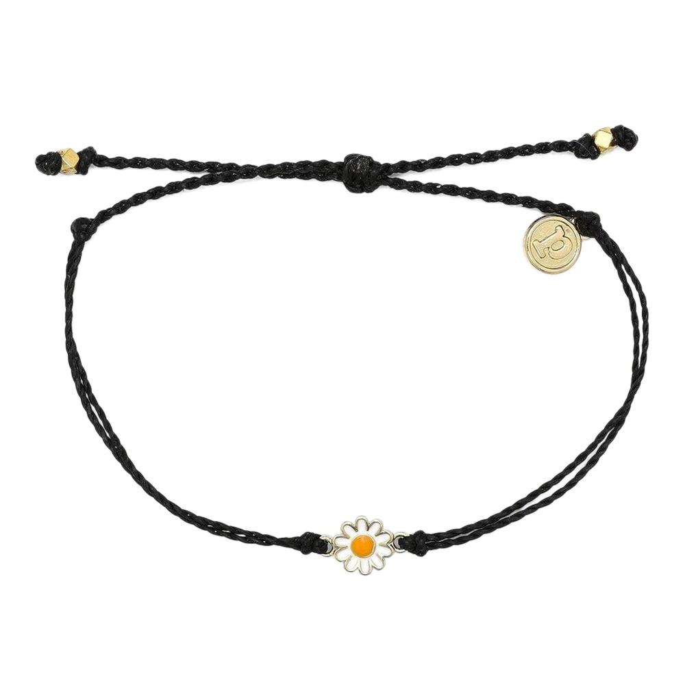 Pura Vida|美國手工 金色雛菊 黑色臘線衝浪手鍊手環