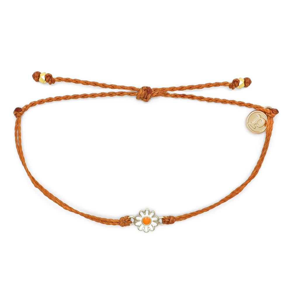 Pura Vida 美國手工 金色雛菊 棕褐色蠟線可調式手鍊衝浪海灘防水手繩