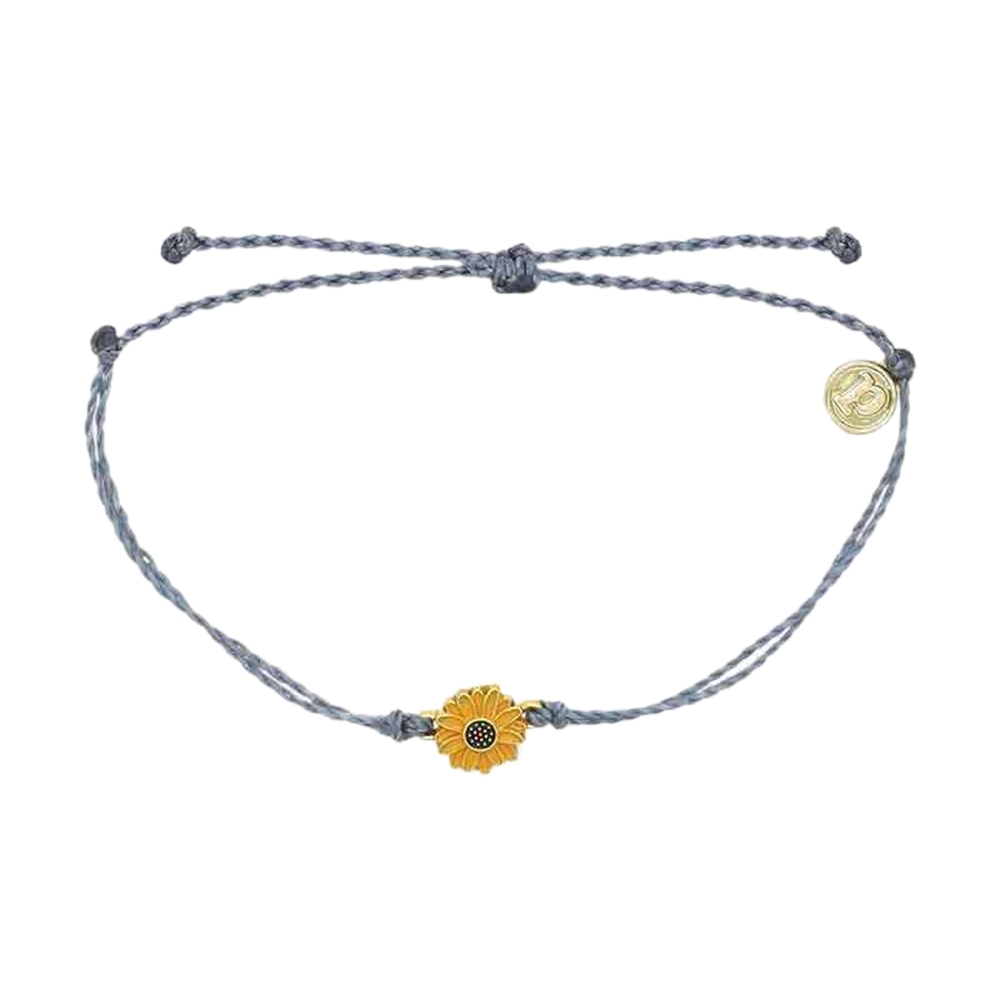Pura Vida|美國手工 金色太陽花 灰藍蠟線可調式手鍊衝浪海灘防水手繩