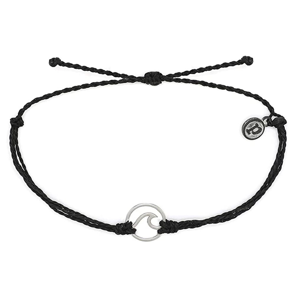 Pura Vida|美國手工 WAVE 銀色波浪綴飾 黑色臘線可調式手鍊衝浪海灘防水手繩