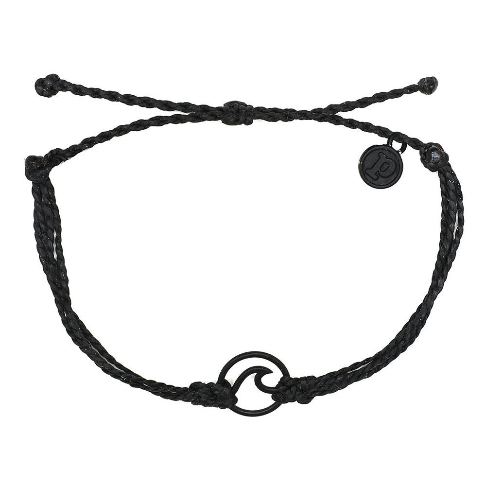 Pura Vida|美國手工 WAVE 黑色波浪綴飾 黑色臘線可調式手鍊衝浪海灘防水手繩