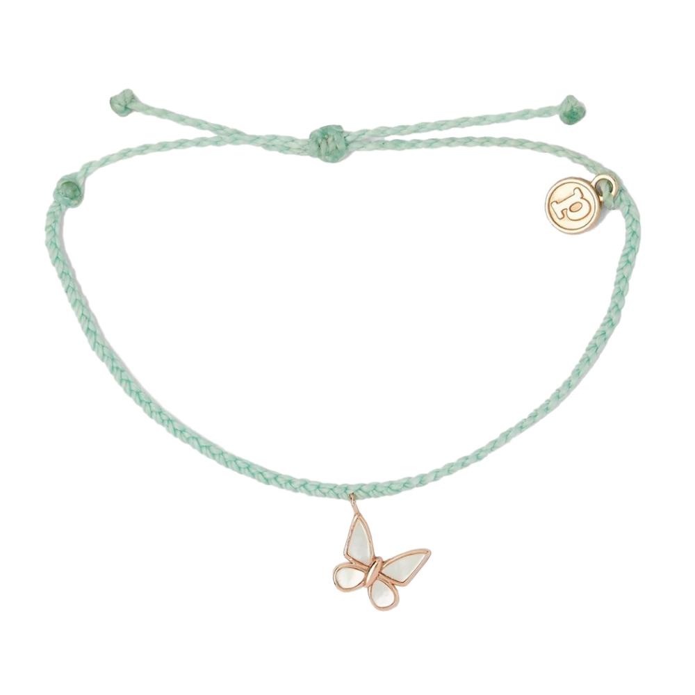 Pura Vida|美國手工 保護蝴蝶 湖水綠蠟線衝浪手鍊手環