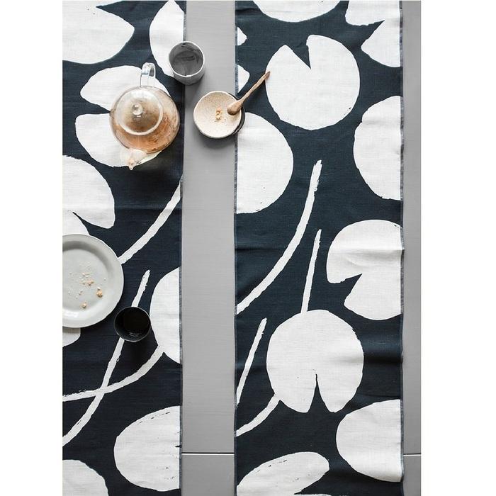 北歐風設計師款 – 荷花桌巾, 午夜藍 (147X250cm) Water lilies Tablecloth, Night Blue