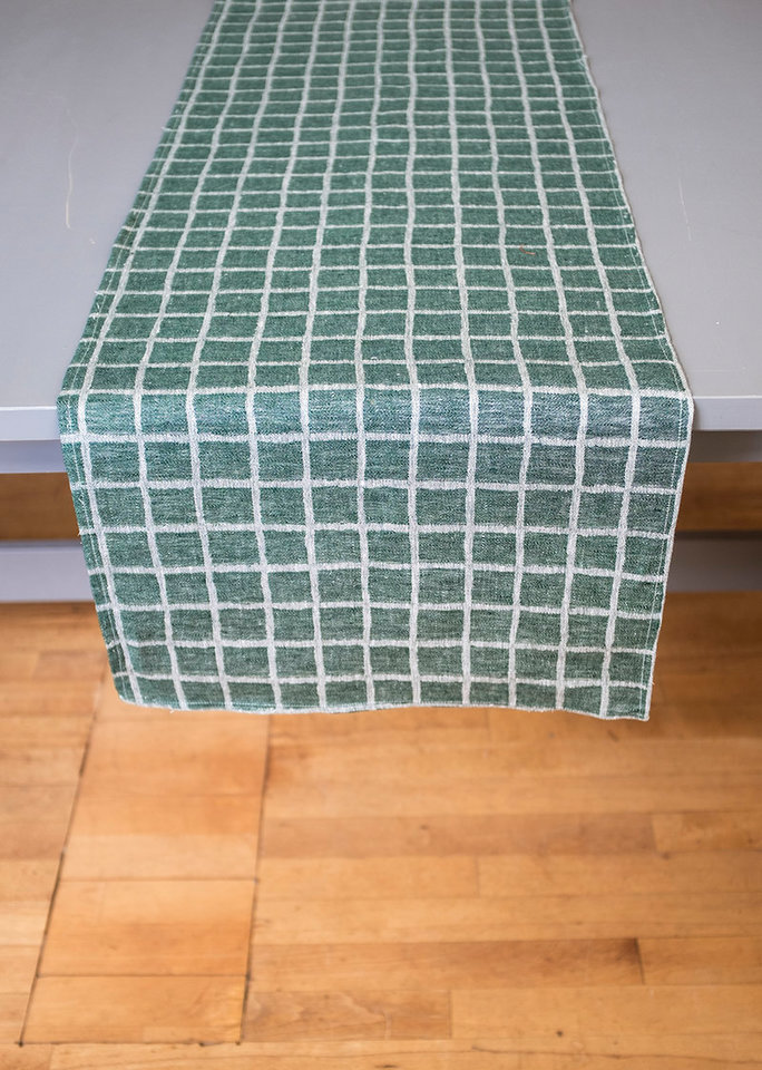 北歐風設計師款 – 格子桌旗, 墨綠 Rutig Table Runner, Green