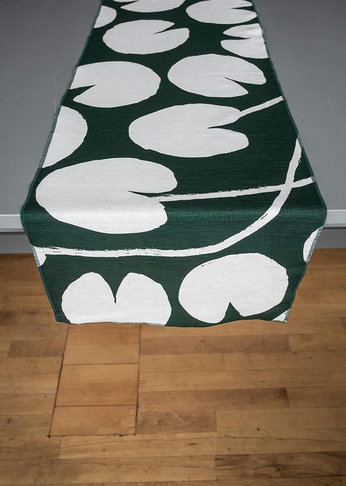 Fine Little Day|北歐風設計師款 – 荷花桌旗, 深綠 Water lilies Table Runner, Green