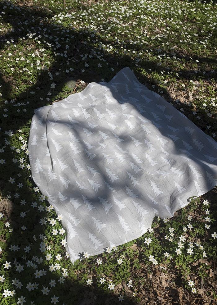 Fine Little Day|有機棉紗布包巾(森林 – 灰底) – GRAN MUSLIN BLANKET – Grey