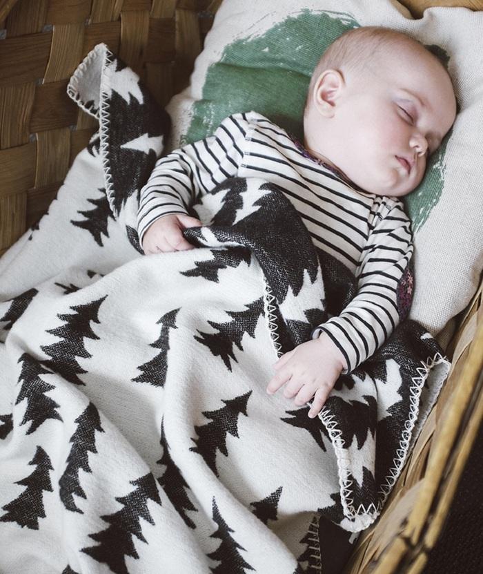 Fine Little Day| 森林有機棉提花刷毛毯(黑白)–GRAN WOVEN CHILD BLANKET(Black&white)