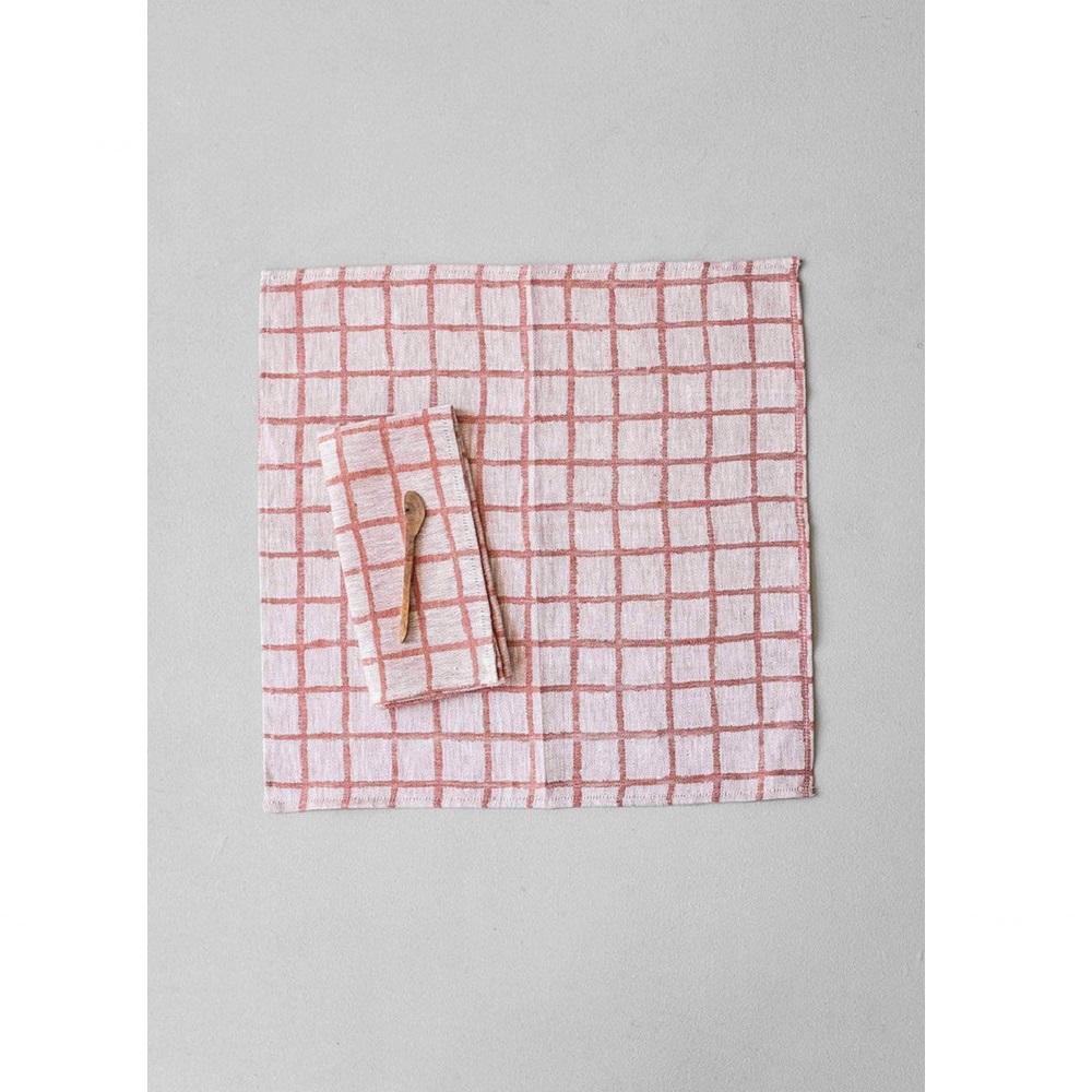 Fine Little Day|北歐風設計師款 – 方格餐巾二入組(紅) Rutig Napkins 2-pack, Red