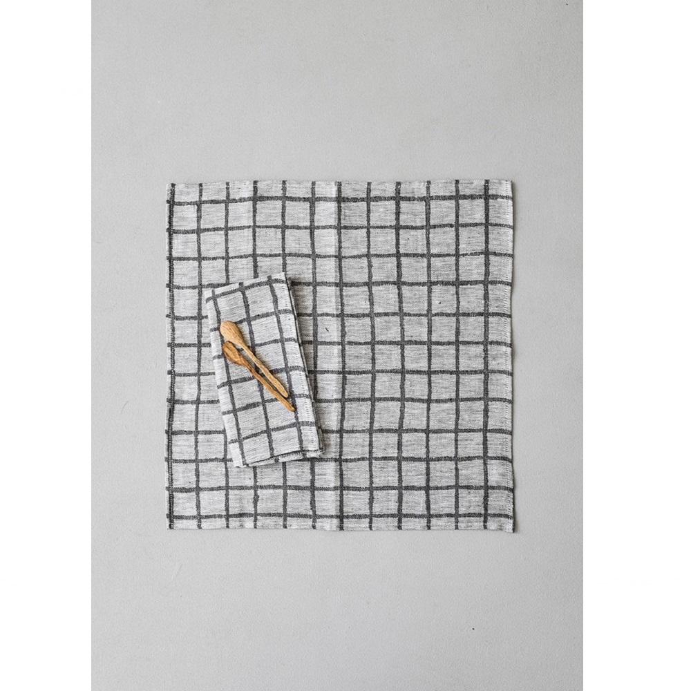 Fine Little Day|北歐風設計師款 – 方格餐巾二入組(黑) Rutig Napkins 2-pack, Black
