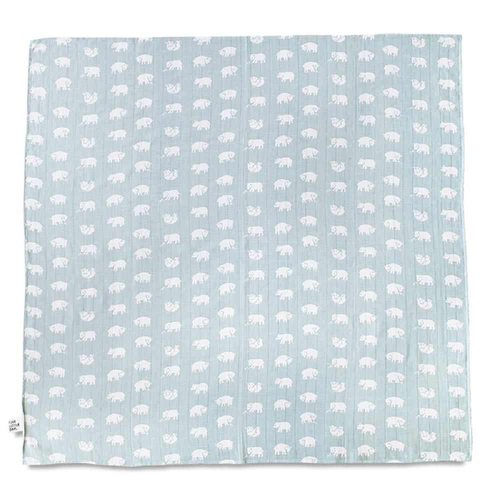 Fine Little Day|有機棉紗布包巾(森林小熊 – 淺藍綠) – BJÖRN MUSLIN BLANKET