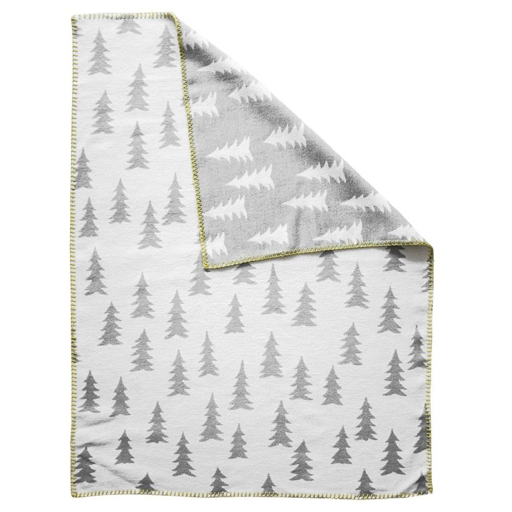 Fine Little Day 森林有機棉提花刷毛毯 (灰白 + 黃邊) – GRAN WOVEN CHILD BLANKET (grey / yellow edge)