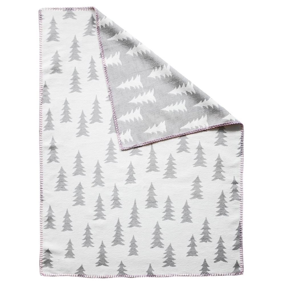 Fine Little Day| 森林有機棉提花刷毛毯(灰白+粉邊)–GRAN WOVEN CHILD BLANKET(grey/ pink edge)