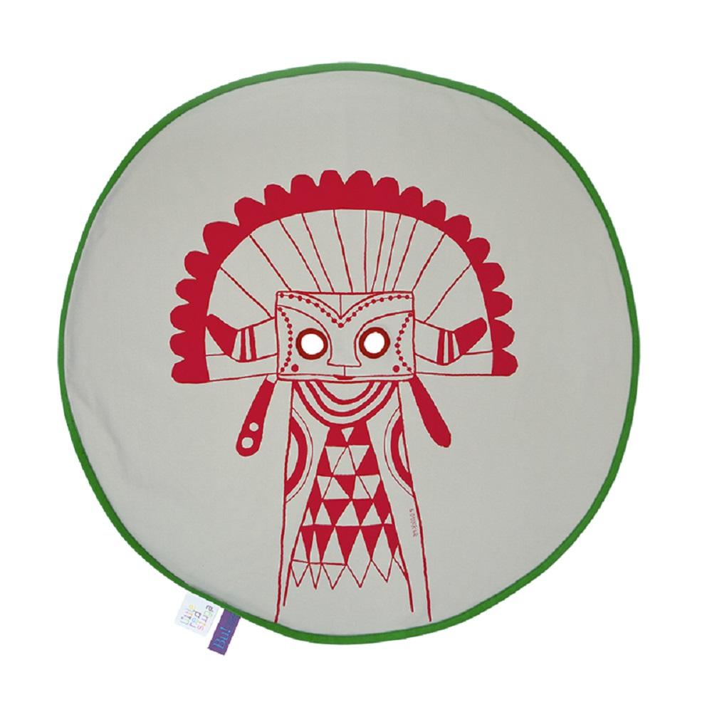 Fine Little Day| BU! BLANKIE 躲貓貓有機棉毯 – 印地安紅(綠邊)Indian Red/Green