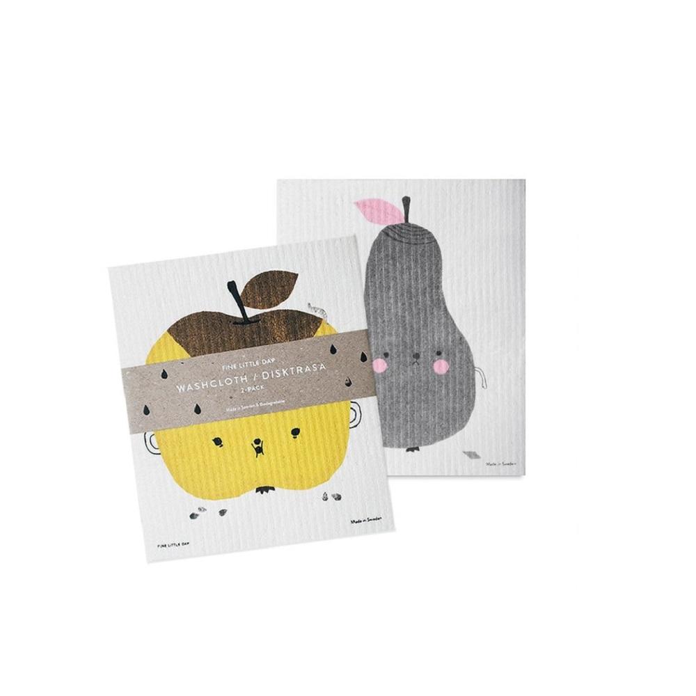 Fine Little Day|環保洗碗布-DISH CLOTH APPLE/PIRUM 2-PACK(17 X 20 cm)