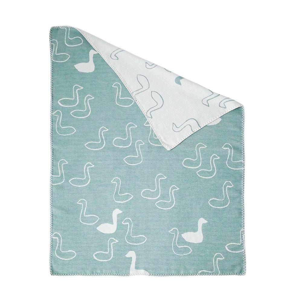 Fine Little Day| 有機棉提花刷毛毯-green swan blanket綠色天鵝