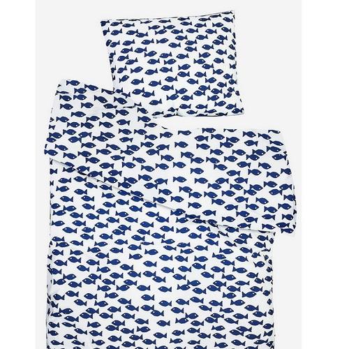 Fine Little Day|有機棉被套枕套兩件組 – FISH BED SET, BLUE
