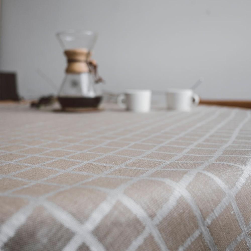 Fine Little Day 北歐風設計師款 - 格子桌巾, 咖 (147X250cm)RUTIG JACQUARD WOVEN TABLECLOTH, BROWN