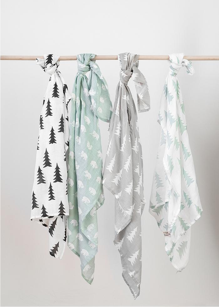 (複製)Fine Little Day| 有機棉紗布包巾(森林 – 草綠) – GRAN MUSLIN BLANKET – Sage Green