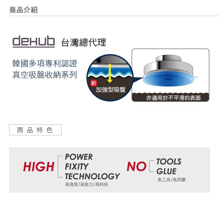 DeHUB | 白色強力可調蓮蓬頭架