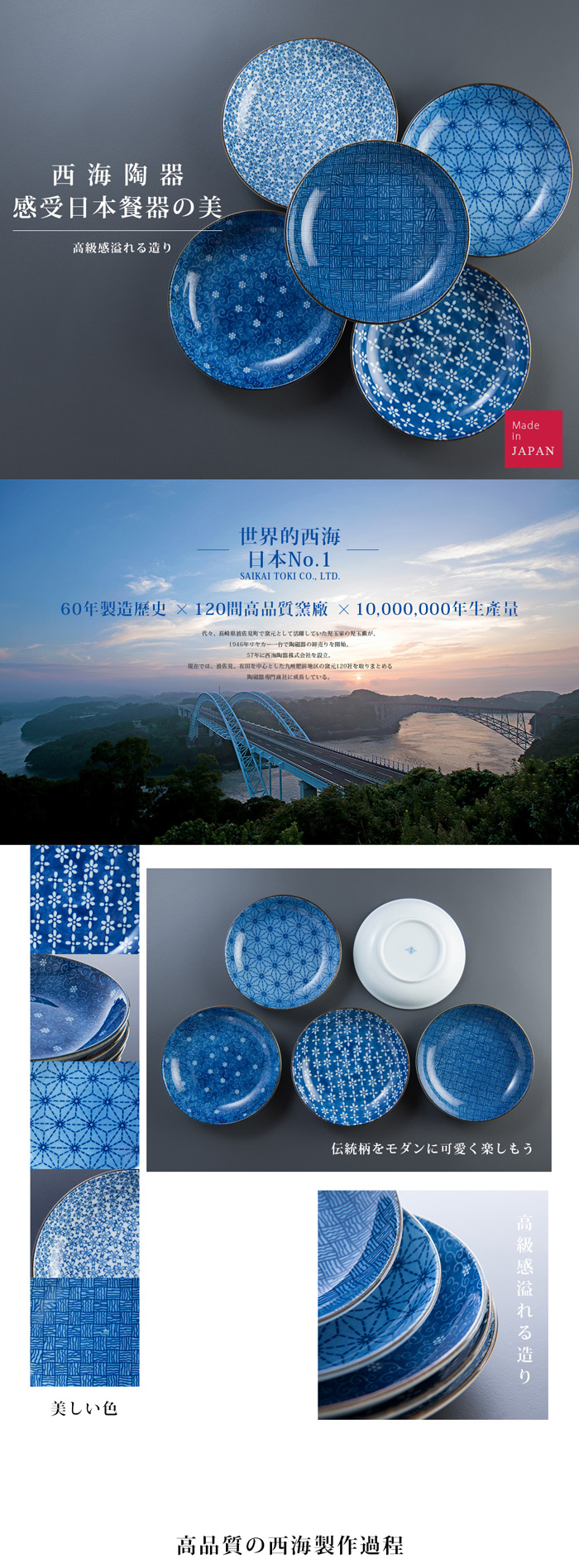 西海陶器|日本美濃燒 輕量雅菊五件式中圓盤組
