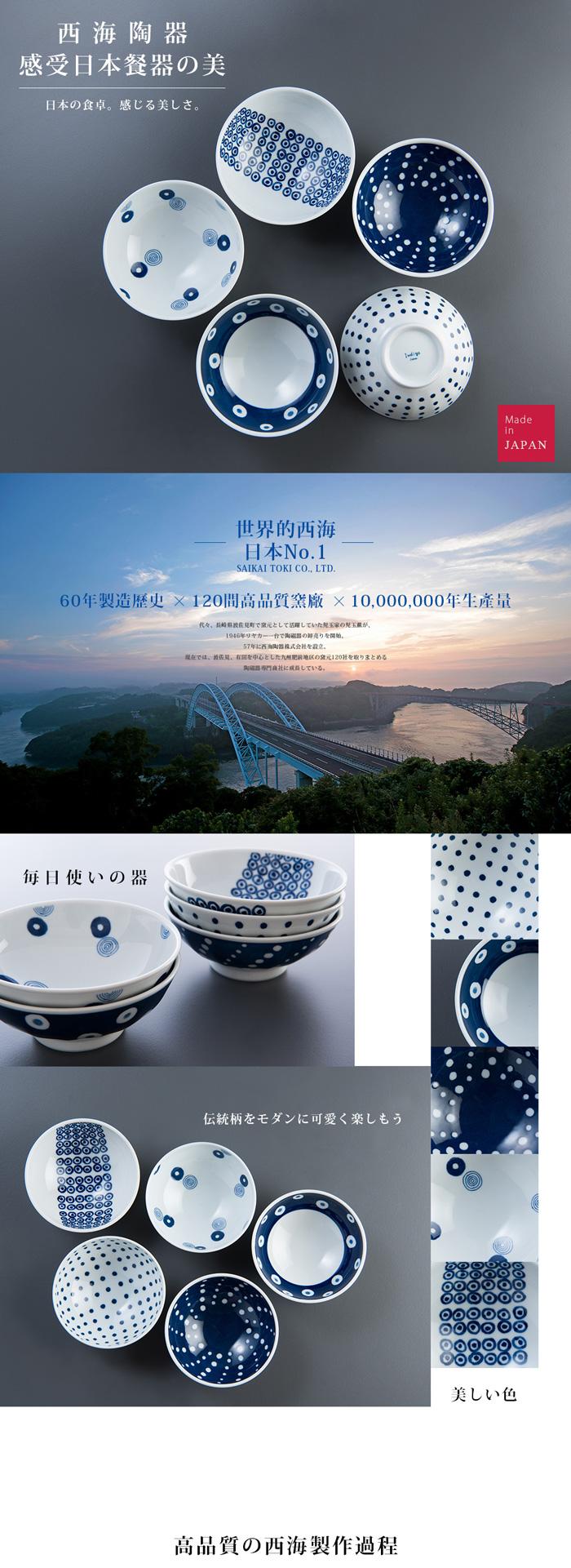 西海陶器|波佐見燒 藍丸紋五件式輕量瓷碗組-前菜碗