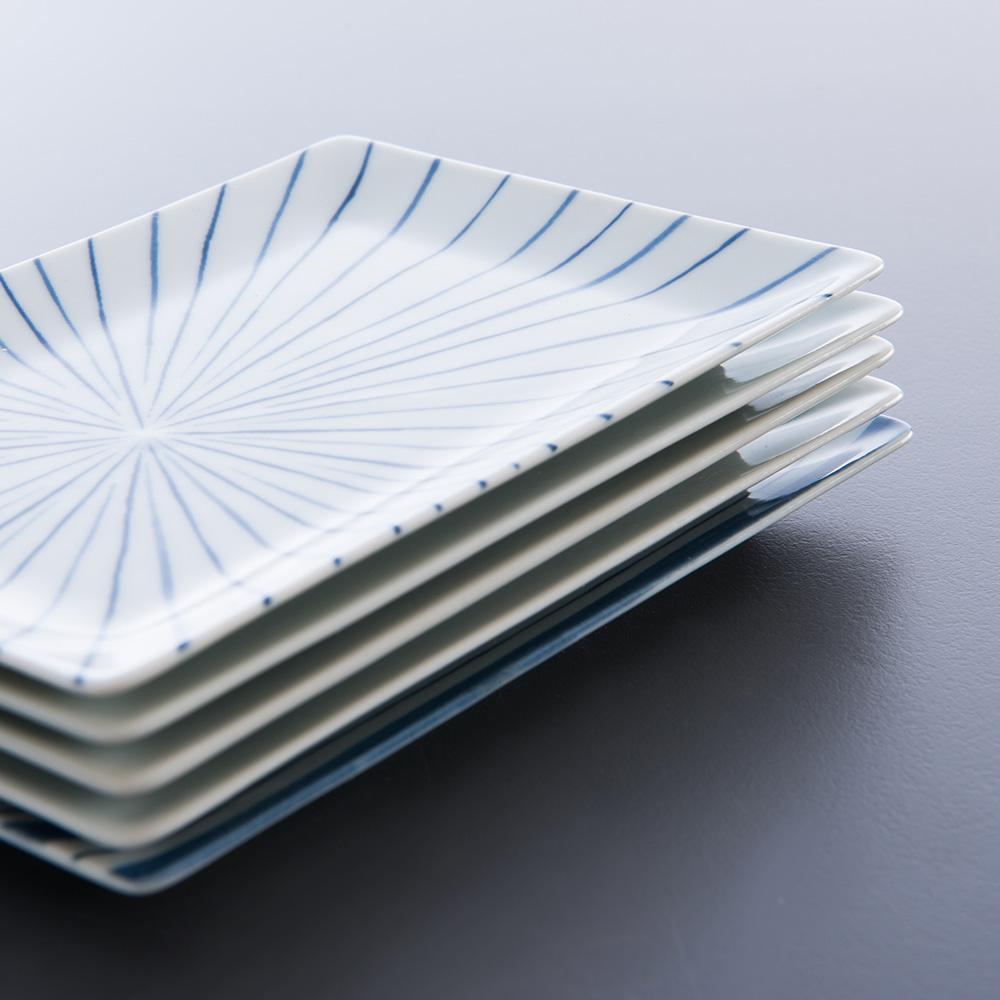 西海陶器 日本美濃燒 日式簡約五件式點心盤