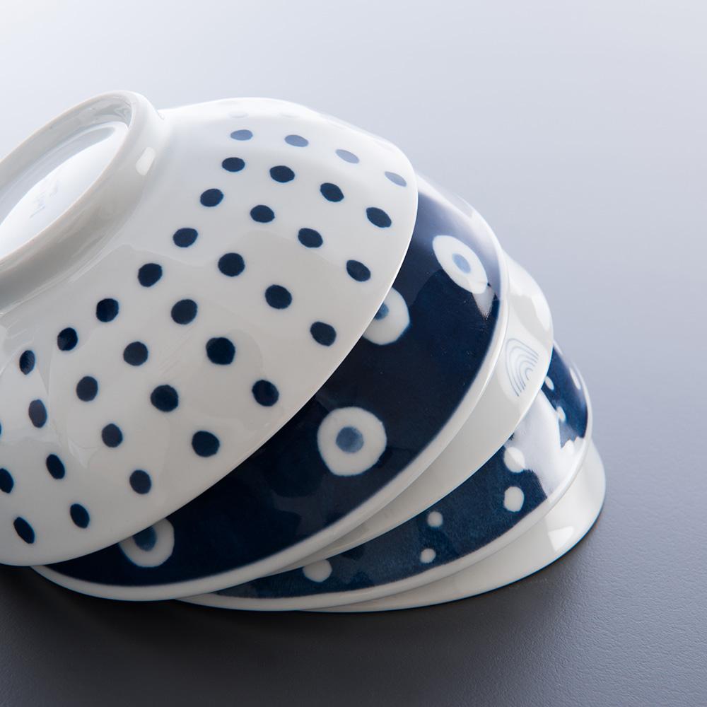 西海陶器|波佐見燒 藍丸紋五件式輕量湯碗