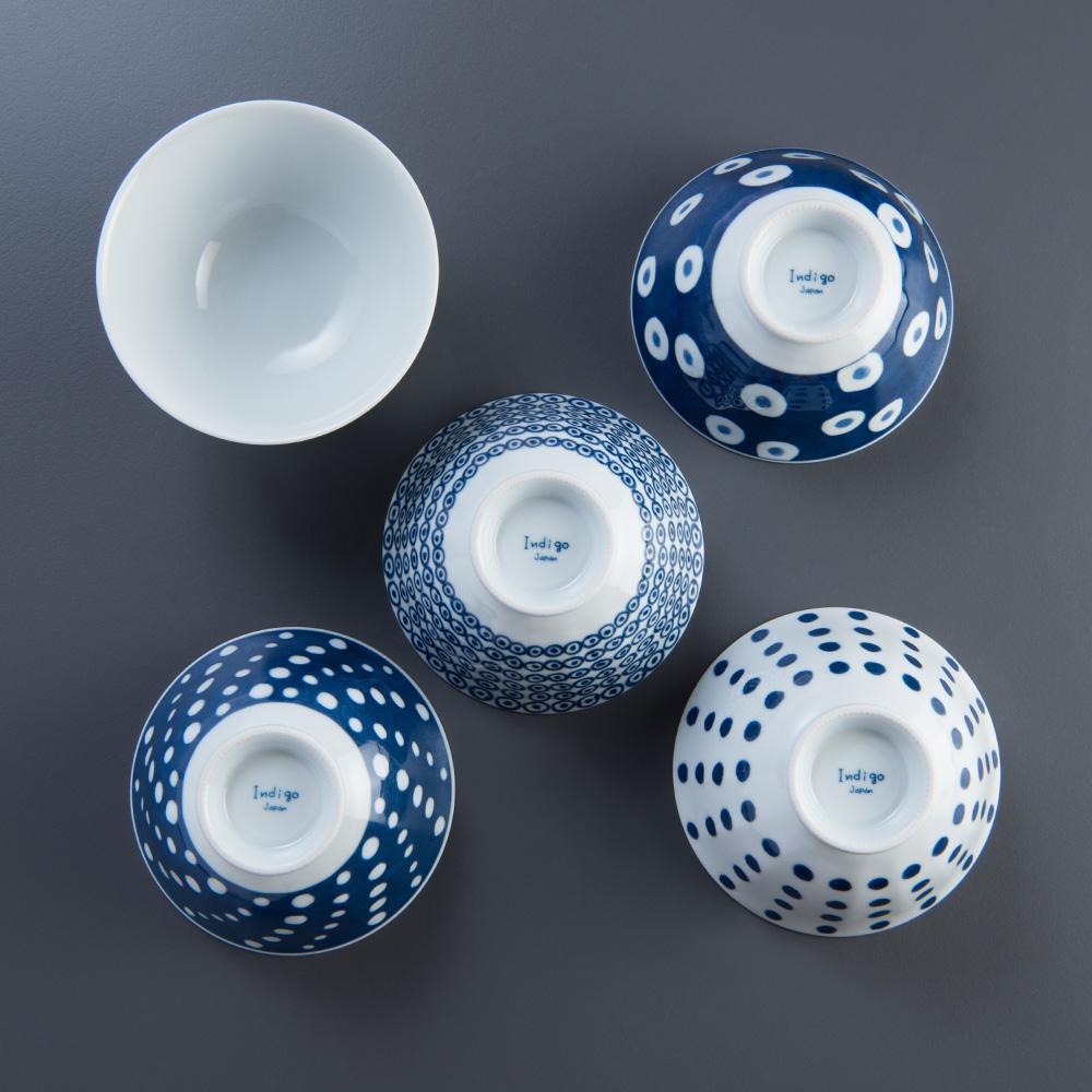 西海陶器 波佐見燒 藍丸紋五件式輕量飯碗