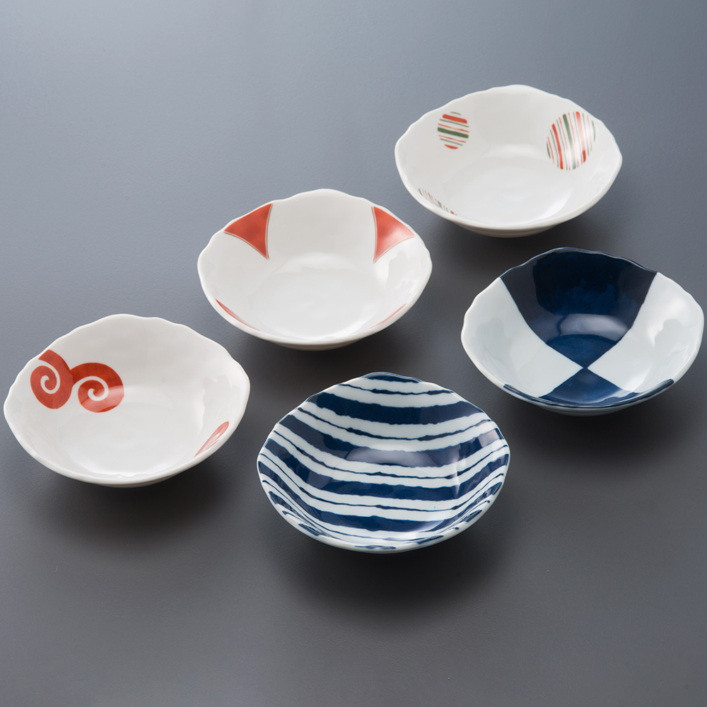 西海陶器|有田燒 染錦雅緻五件式小角碟