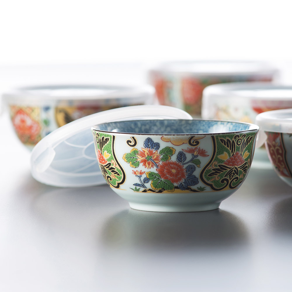 西海陶器 古伊万里 金彩五件式附蓋碗組