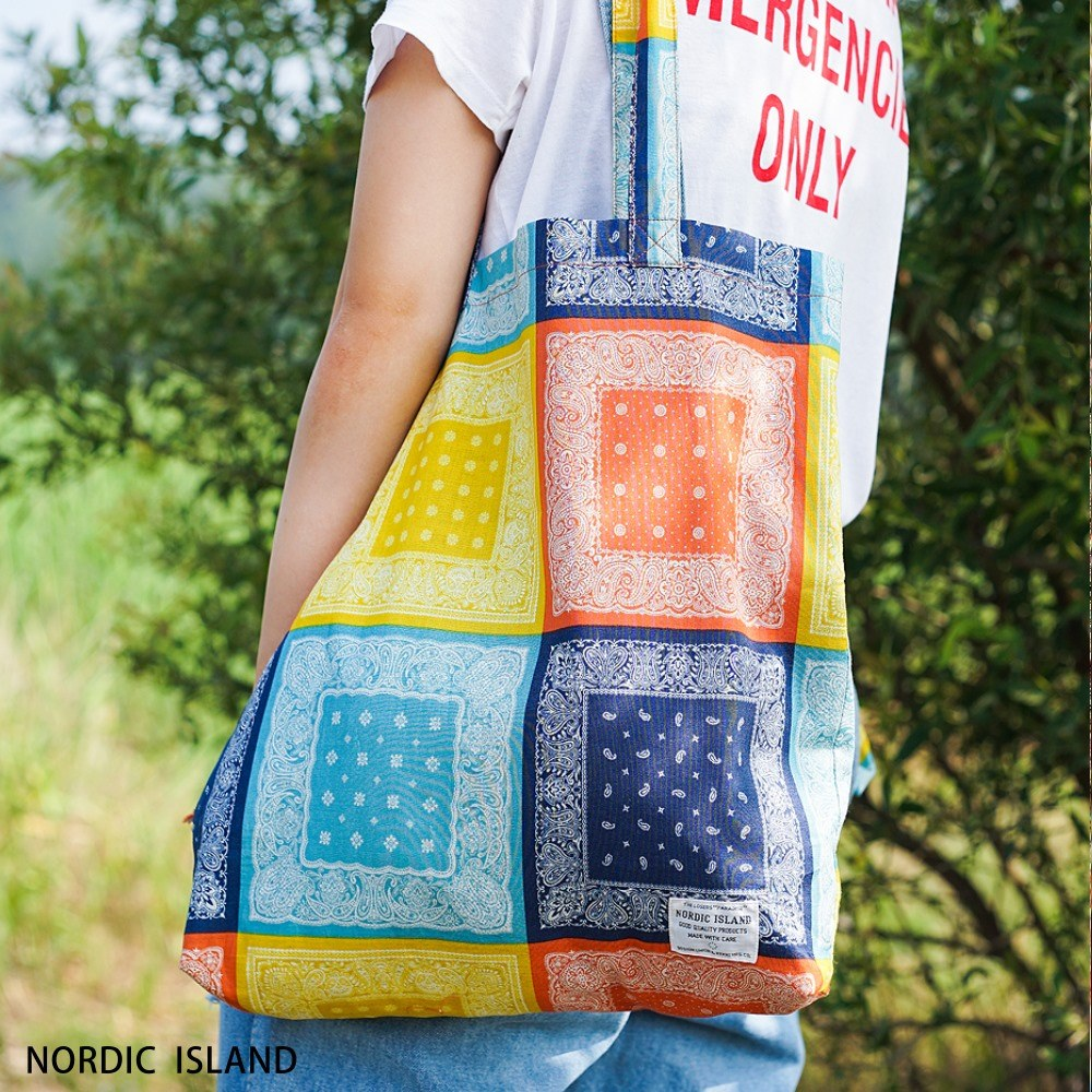 NORDIC ISLAND   帆布購物袋-Checky Paisley (黃色)