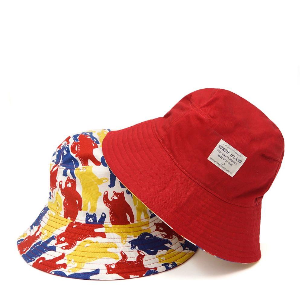 NORDIC ISLAND│雙色漁夫帽-迷彩熊/紅色