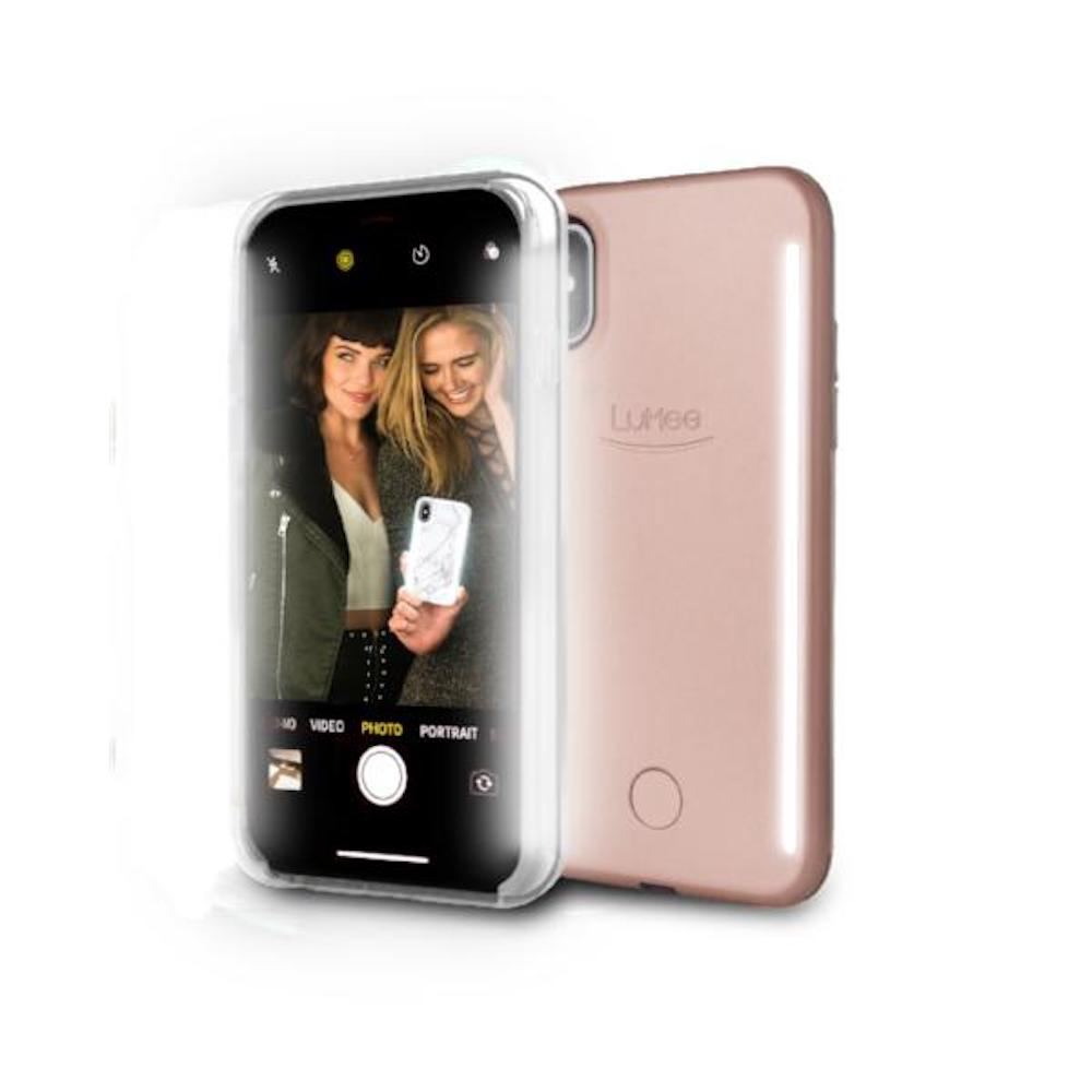 LUMEE Duo|雙面 LED 補光手機殼 iPhone X (玫瑰金)