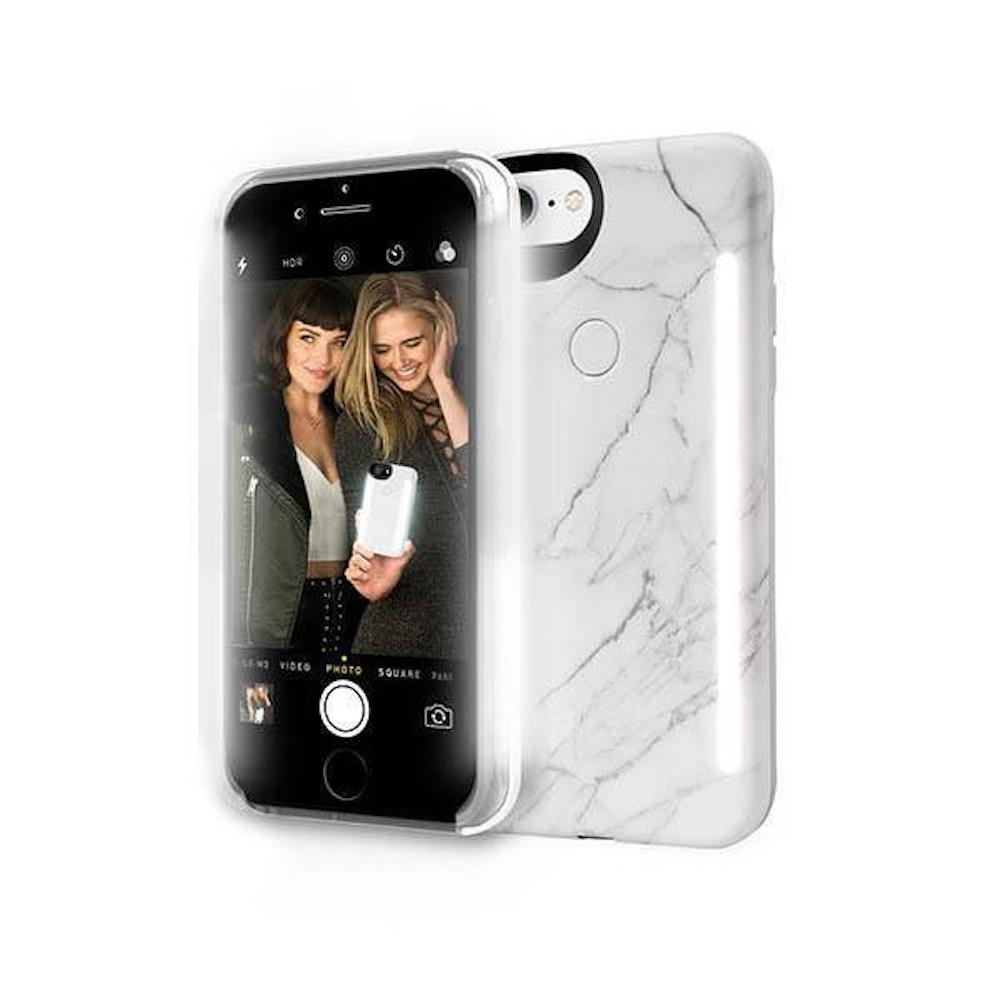 LUMEE Duo|雙面 LED 補光手機殼 iPhone 8, 7, 6s, 6 (大理石白)