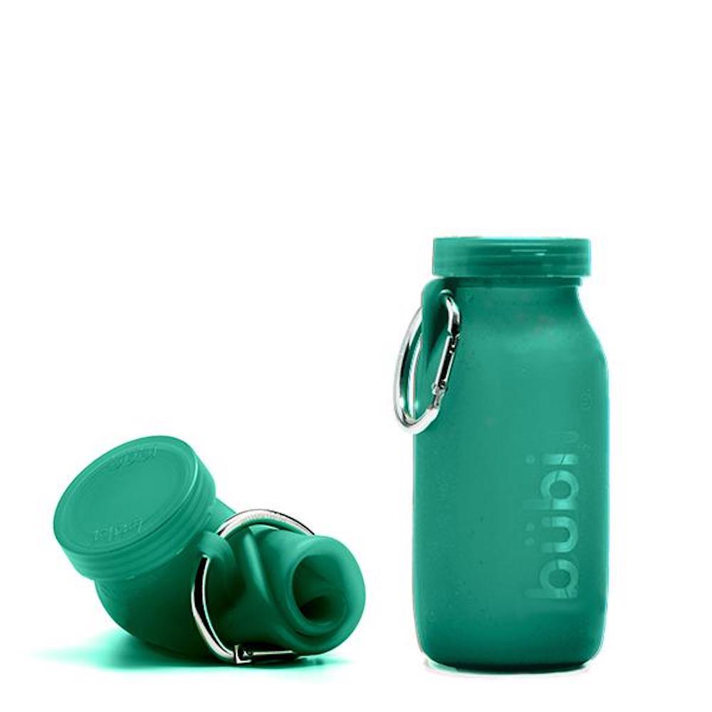 BUBI BOTTLE 矽膠摺疊多功能水壺 450ml (深綠)