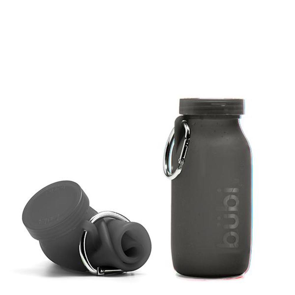 BUBI BOTTLE 矽膠摺疊多功能水壺 450ml (黑色)